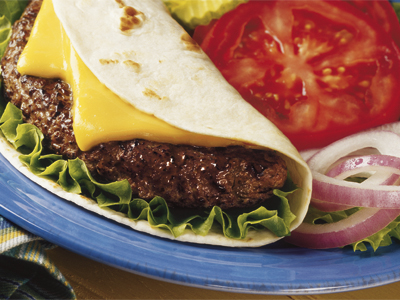 Beef Burger And Cheddar Cheese Wraps
